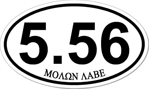 5.56, molon labe, marathon style, Oval Euro Vinyl Bumper Sticker / Decal / Label Weatherproof AR-15 AR15 ()