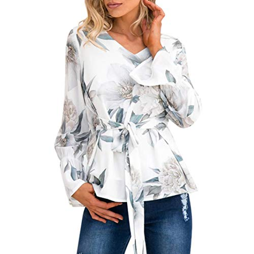 Anxinke Women Casual Floral Printed Long Sleeve Belted Blouse V Neck Chiffon Shirts Top (L, ()