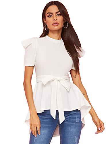 Romwe Women's Petite Irregular Hem Belt Slim Short Sleeve Elegant Peplum Blouse Top White XS