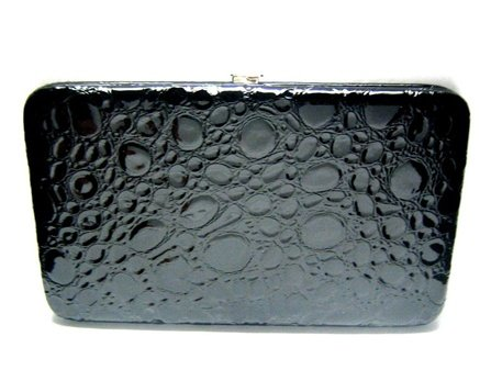 Black Textured Flat Wallet w/Matching Checkbook Holder, Bags Central