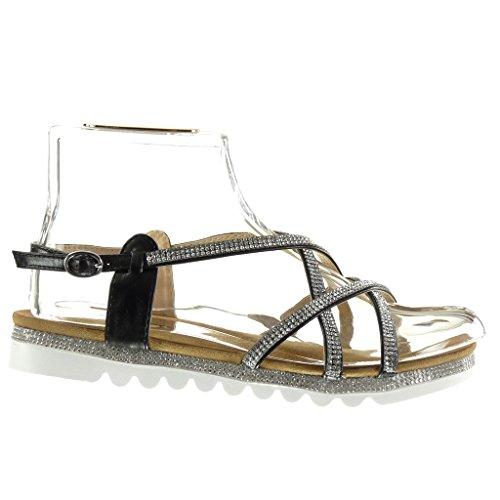 Angkorly - Zapatillas de Moda Sandalias suela de zapatillas mujer multi-correa strass Hebilla Talón tacón plano 2.5 CM - Negro