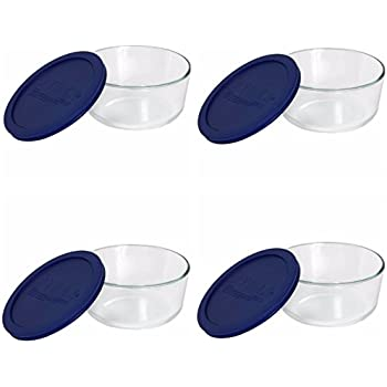 3a77d8a1f90 Pyrex Storage 4-Cup Round Dish with Dark Blue Plastic Cover, Clear (Case of  4 Containers)
