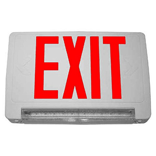 (Single Face - LED Combination Exit Sign - White Thermoplastic - Red Letters - Includes Backup LED Light Bar - 120/277V & Battery Backup- CLED-1-WH)