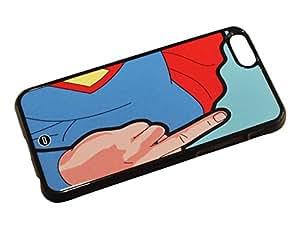 1888998157079 [Global Case] Real Superhombre Super Heroe A la mierda! Dedo del corazón WTF Vete a la mierda! Realidad Dibujos animados Arte Arte Pop Clásico Divertido Superman (NEGRO FUNDA) Carcasa Protectora Cover Case Absorción Dura Suave para Samsung Galaxy S2