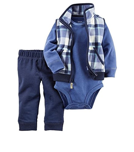 Carter's Baby Boys' 3 Piece Vest Set (Baby), Blue Plaid, 3 Months (Three Piece Vest)