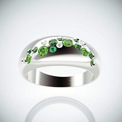 | Morning Due 14k White Gold Cluster Ring set with Diamonds, Emeralds, Green Sapphire and Peridot |14k White gold cluster ring inspired by Morning