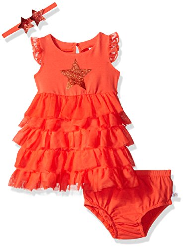 Rosie Pope Little Girls Trapeze Dress with Star Headband, Red, 24 Months