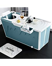 Blue Folding Bathtubs with Cover and Storage Rack, Thick Extra Large Plastic Children Folding Bathtub Adult Bathtub Foldable Portable Folding Bath Barrel