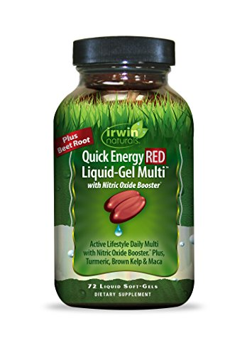 Quick Energy Red by Irwin Naturals, B-Vitamins, Antioxidants and Nitric Oxide, Liquid-Gel Multi, 72 Count