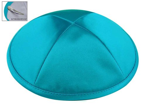 Zion Judaica Deluxe Satin Kippot for Affairs or Everyday Use Single or Bulk Orders - Optional Custom Imprinting Inside for Any Affair (1PC, Turquoise)