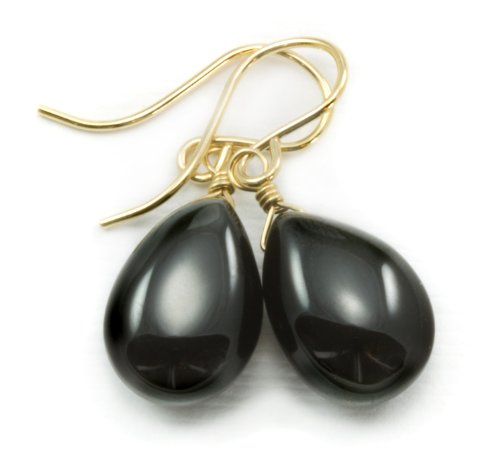 14k Gold Filled Spinel Earrings Black Smooth Teardrop Large Drop Tear (Designer Spinel Earrings)