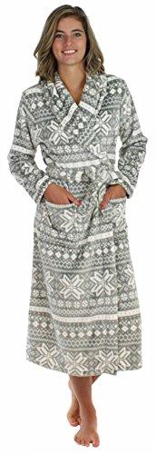 PajamaMania Women's Plush Fleece Long Robe Robe Grey & White Snowflake (PM1400-2011-SML)