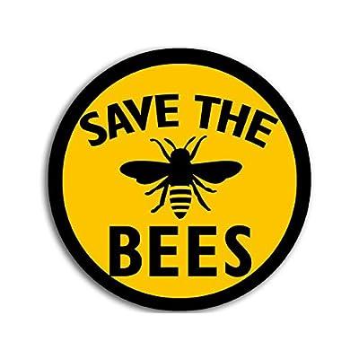 American Vinyl Round Save The Bees Sticker (Anti Monsanto Vegan Organic Beekeeper Yellow Black): Automotive