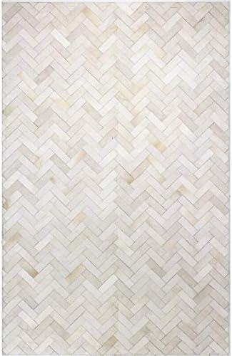 Allen Home Cowhide Jacquard 3X5 4X6 5X8 6X9 8X10 9X12 Modern Chevron AH08 Natural Beige Cream Silver Leather Handwoven flatweave Patchwork Hand Made Hairhide Area Rugs Carpet (8'X10')