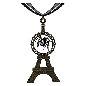 Chicforest Bronze Retro Style Halloween skull spider Eiffel Pendant