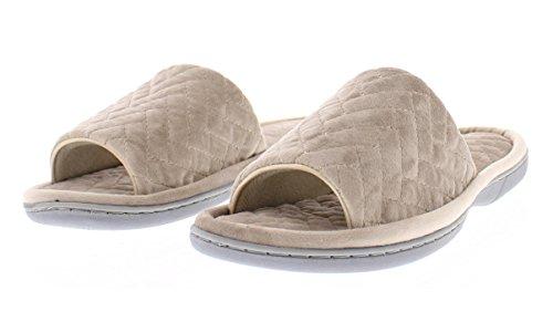 Gold Toe Mujeres Adreanna Chevron Tobogán Acolchado Open Toe En La Espuma De La Memoria Flip Flop House Scuff Slipper Gris
