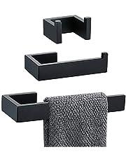 TNOMS Bathroom Hardware Set Towel Bar Hand Towel Holder Toilet Paper Holder,Black Finished,Q8SET-BLK