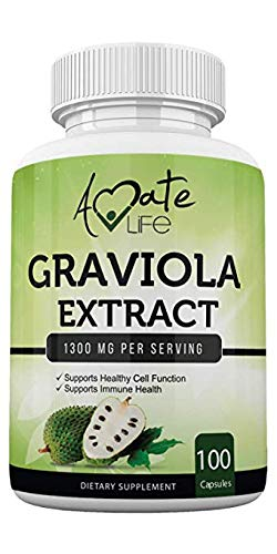 Graviola Extract Capsules (100 Capsules / 1300 MGS) – Guanabana Graviola Soursop Supplement for Cell Growth, Immune Support & Balanced Mood – for Men and Women - Made in USA by Amate Life