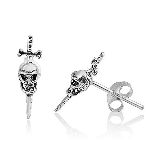 925 Oxidized Sterling Silver Tiny Gothic Skull & Swords Pirate Symbol 15 mm Post Stud Earrings