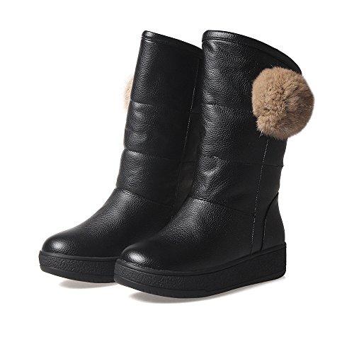 Carolbar Womens Pom-poms Comfort Inverno Moda Caldi Stivali Da Neve Neri