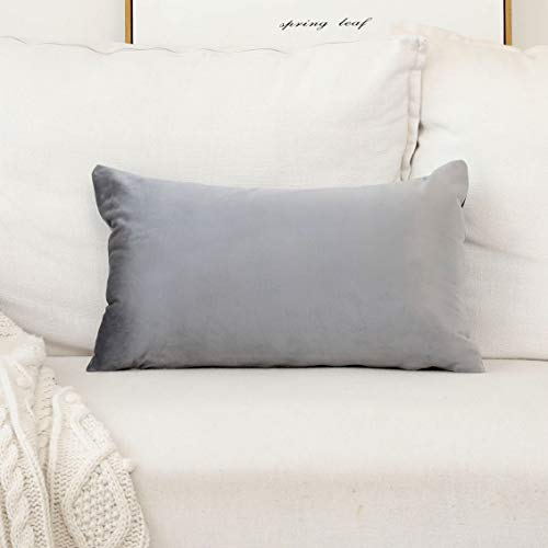 HOME BRILLIANT Solid Velvet Rectangular Throw Cushion Cover Pillowcase for Bed Nursery Sectional Seat, 30cm x 50cm, Silver Grey