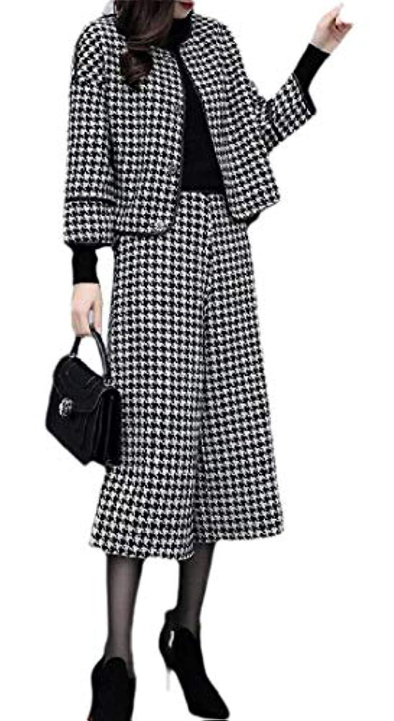 応用賢明なハブブchenshiba-JP レディース ウール ブレンド コート ハウンズトゥース プリント 2 枚 クロップド パンツ スーツ セット