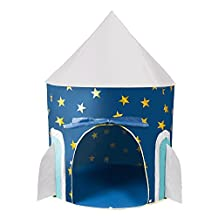 Children Play Tent - Space Rocket Castle Kids Playhouse by Wonder Space, Comes with Carrying Case and White LED Star Light String, Ideal for Indoor & Outdoor Use, Best Gift for Boys and Girls (Blue)