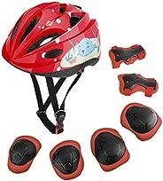 MoKo Helmet for Kids 3-10 Years, Toddler Adjustable Bike Helmet Sports Protective Gear Set Knee Pads Elbow Gua
