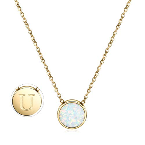 CIUNOFOR Opal Necklace Gold Plated Round Disc Initial Necklace Engraved Letter U with Adjustable Chain Pendant Enhancers for Women -