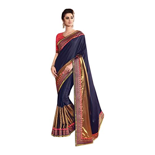 Diwali Special Bollywood Festival Neavy Blue Bridal Saree Sari Blouse New Launch Blousel Wedding Ceremony by SHRI BALAJI SILK & COTTON SAREE EMPORIUM