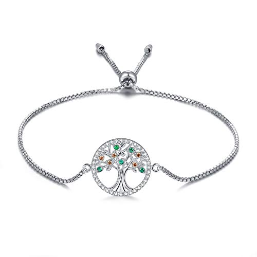 (MEGA CREATIVE JEWELRY Family Tree of Life 925 Sterling Silver Bracelets Crystal from Swarovski)