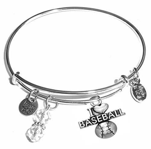 Message Charm (46 words to choose from) Expandable Wire Bangle Bracelet, in the popular style, COMES IN A GIFT BOX! (I Love Baseball)