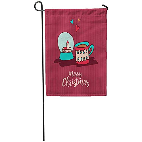 Staroind Garden Flag 12x18 Inches Print On Two Side Polyester Merry Christmas Cute Xmas Snow Globe and Hot Chocolate Cup Cartoon Holiday Home Yard Farm Fade Resistant Outdoor House Decor ()