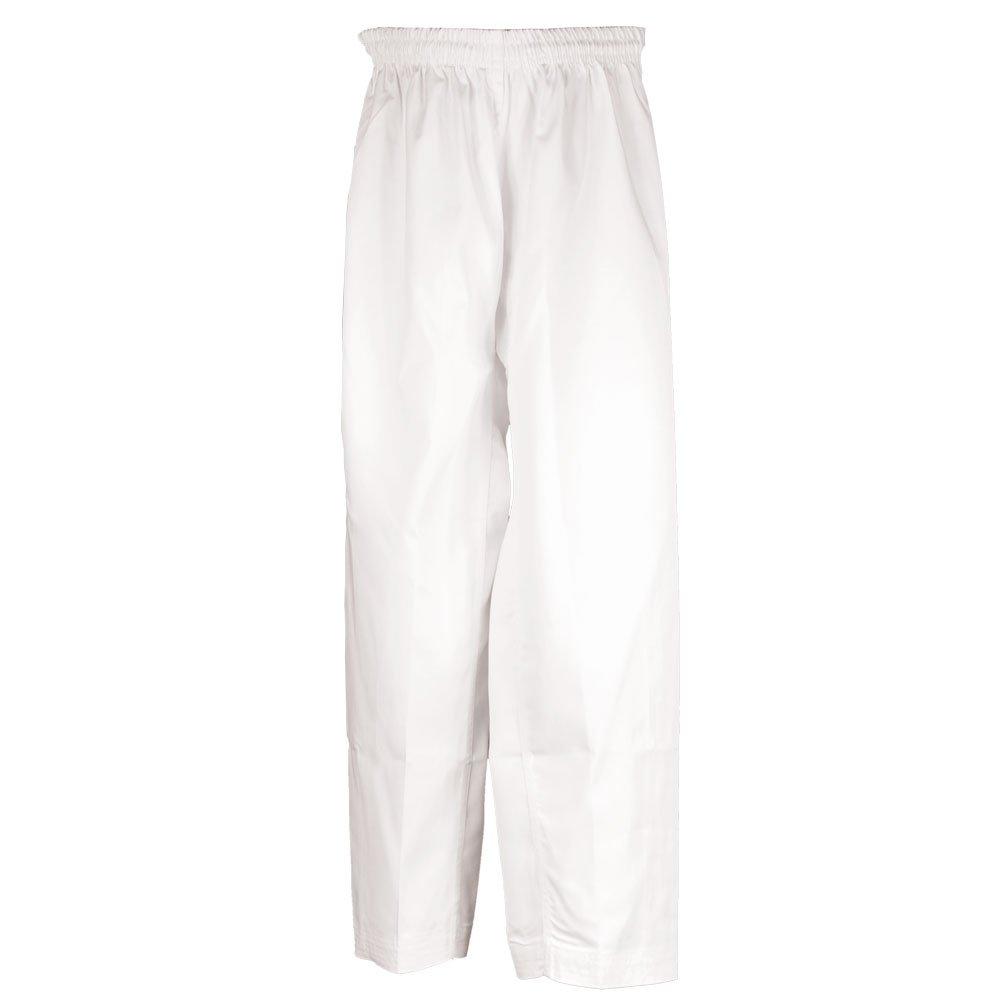 Tiger Claw 7.5 Ozポリ/コットン学生ウエストゴム格闘技空手パンツ – (ブラック、レッド、ブルー&ホワイト) ホワイト