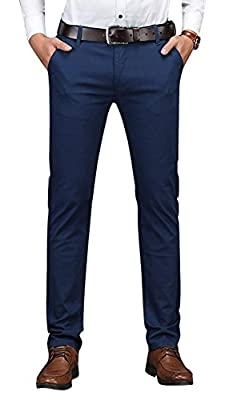 Plaid&Plain Men's Business Casual Pants Men's Slim Fit Flat Front Pants