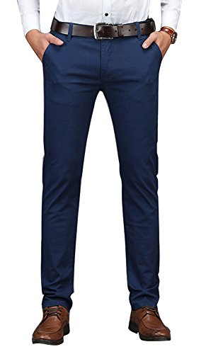 Stretch Plaid Pants - Plaid&Plain Men's Business Casual Pants Men's Slim Fit Flat Front Pants 8801Navy 34X32