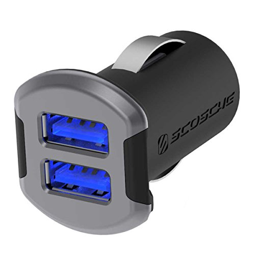 SCOSCHE USBC242MSG Revolt Compact Dual Port USB High Speed Universal Car Charger with Illuminated LED Backlight - 12 Watts/2.4 Amps Per Port (24W/4.8A Total Output) - Space - Ipad Rated 4 Case Highest