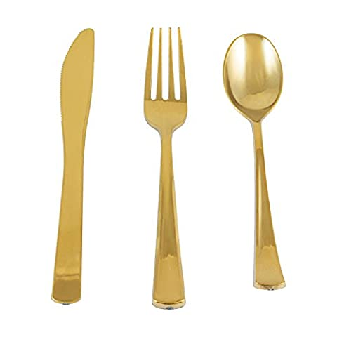 Houseables Disposable Cutlery, Gold Plasticware, Metallic Utensils, 180 Pack, 60 Forks, 60 Spoons, 60 Knives, Fancy Colored Plastic Flatware, Elegant Silverware Set, Shiny Dinnerware, Banquet, - Heavy Metal Neutralizer