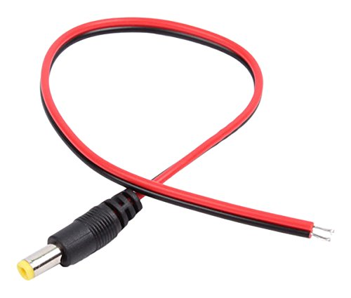 SPT Security Systems 93-PM11-100 CCTV Camera Male Plug DC Power Cable Pigtail, 100 Pieces, Black/Red