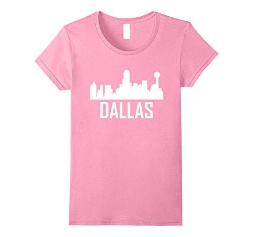 - Womens Dallas Texas Skyline Silhouette T-Shirt Small Pink