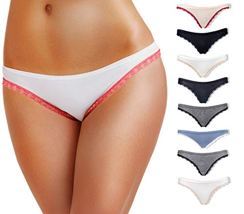 Emprella Cotton Underwear Women, 8 or 5 Pack Womens Bikini Seamless Ladies Cheeky Panty - Small