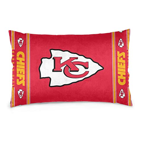 Gdcover Custom Colorful Kansas City Chiefs Pillow Covers Standard Size Throw Pillow Cases Decorative Cotton Pillowcase Protecter with Zipper - 20x30 -