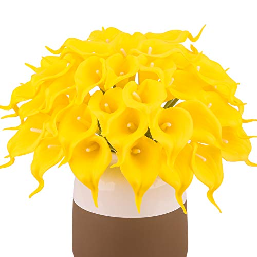 (Bomarolan Calla Lily Real Touch Bridal Wedding Bouquet Lataexs for Bride Artificial Flowers Birthday Party Home Décor Pack of 24 (Yellow))