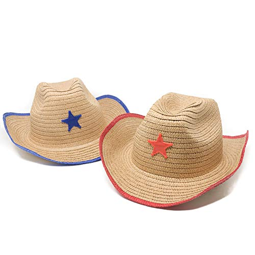 12 Piece Kids Cowboy Hats with Sheriff Star - Western Straw Hats -