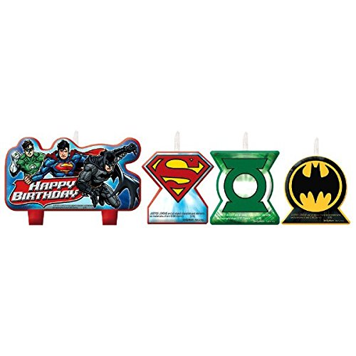 Adventure Filled Justice League Birthday Party Decorative Cake Candle Set, Multi Colored, Wax, Assorted Sizes, 4-Piece for cheap