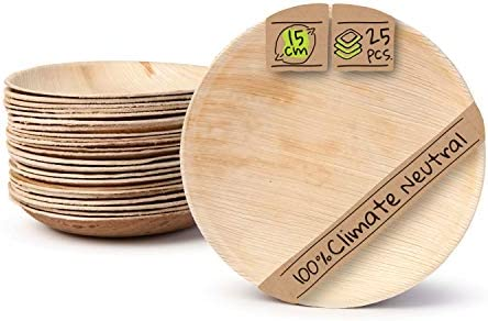 BIOZOYG Palmware Platos de Hojas de Palma I 25 Piezas de ojas de Palma Redondo Ø 15 cm I Bio vajilla desechable Boda compostable Biodegradable Vajilla de Fiesta: Amazon.es: Hogar