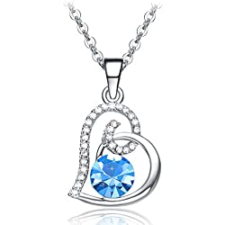 Valentines Day Gifts NEEMODA 18K White Gold Pated Heart Pendant Necklace for Women Sapphire Blue Crystal Fashion Jewelry Gifts for Her
