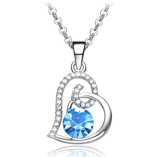 Valentines Day Gifts for Women NEEMODA Blue Crystal Heart Pendant Necklace for Girlfriend Fashion Jewelry Gifts for Her Birthday Anniversary Valentines Day White Gold Plated