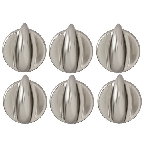 Spares2go Universal Control Knobs For all Makes And Models Of Oven Cooker & Hob (Chrome/ Silver, Pack Of 6) (Gas Knob Chrome Oven)