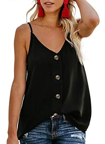 FARYSAYS Women's Ladies Sexy Sleeveless V Neck Spaghetti Strap Loose Tank Tops Camisole Shirt Plus Size Black X-Large